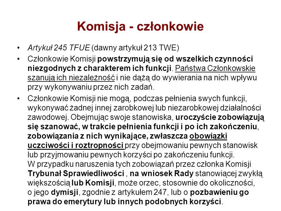 Komisja - członkowie Artykuł 245 TFUE (dawny artykuł 213 TWE) Członkowie Komisji powstrzymują się od wszelkich czynności niezgodnych z charakterem ich