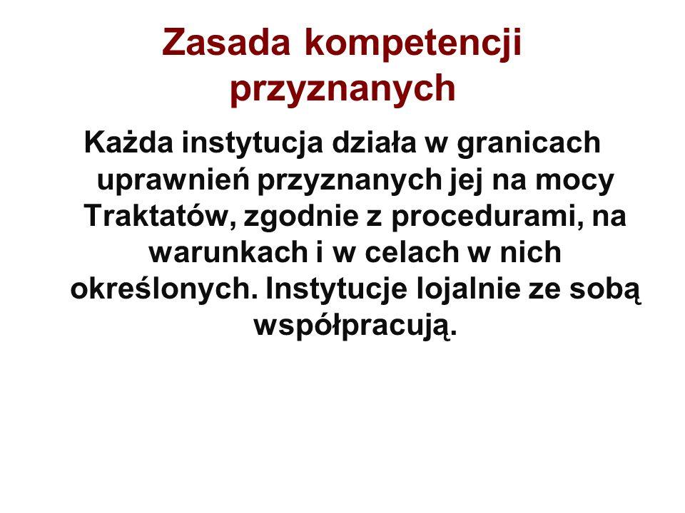 Zasada kompetencji przyznanych Każda instytucja działa w granicach uprawnień przyznanych jej na mocy Traktatów, zgodnie z procedurami, na warunkach i