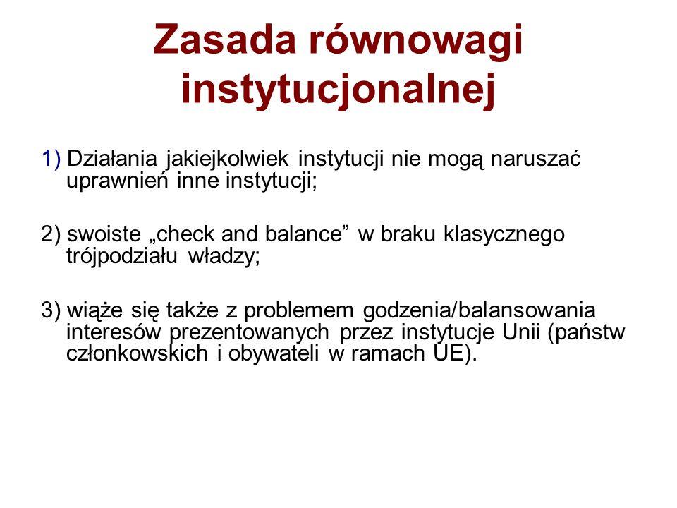 Zasada równowagi instytucjonalnej 1) Działania jakiejkolwiek instytucji nie mogą naruszać uprawnień inne instytucji; 2) swoiste check and balance w br