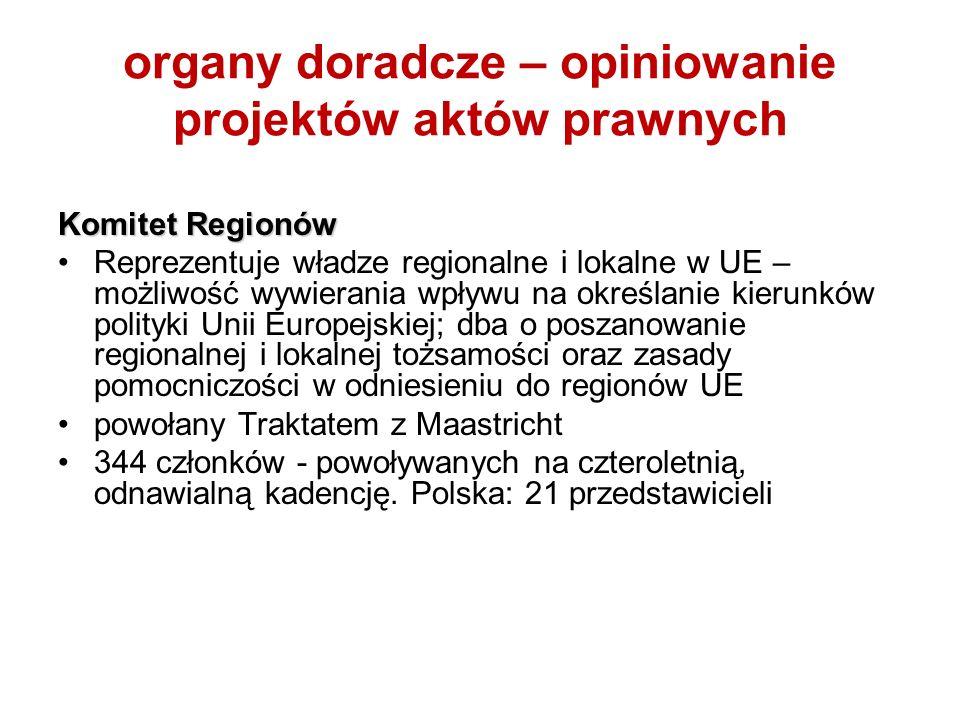 organy doradcze – opiniowanie projektów aktów prawnych Komitet Regionów Reprezentuje władze regionalne i lokalne w UE – możliwość wywierania wpływu na