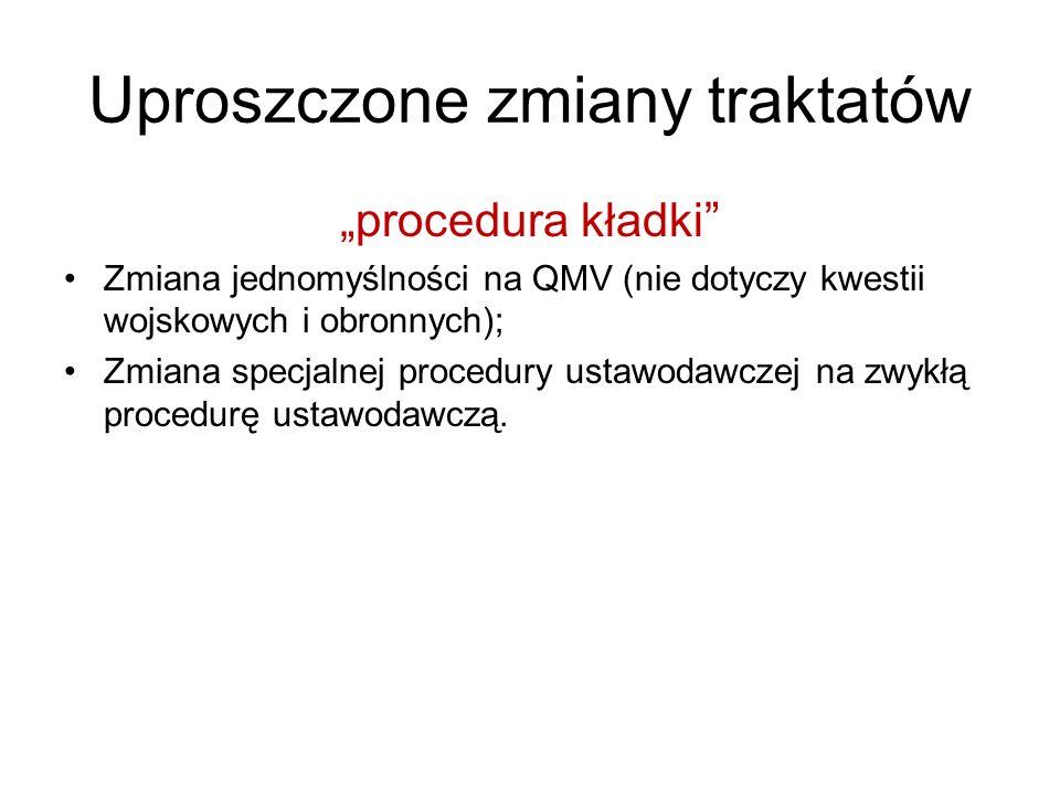 Uproszczone zmiany traktatów procedura kładki Zmiana jednomyślności na QMV (nie dotyczy kwestii wojskowych i obronnych); Zmiana specjalnej procedury u