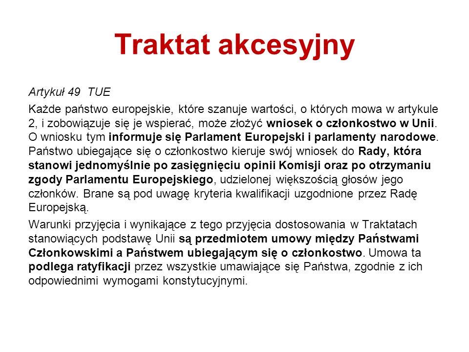 Traktat akcesyjny Artykuł 49 TUE Każde państwo europejskie, które szanuje wartości, o których mowa w artykule 2, i zobowiązuje się je wspierać, może z
