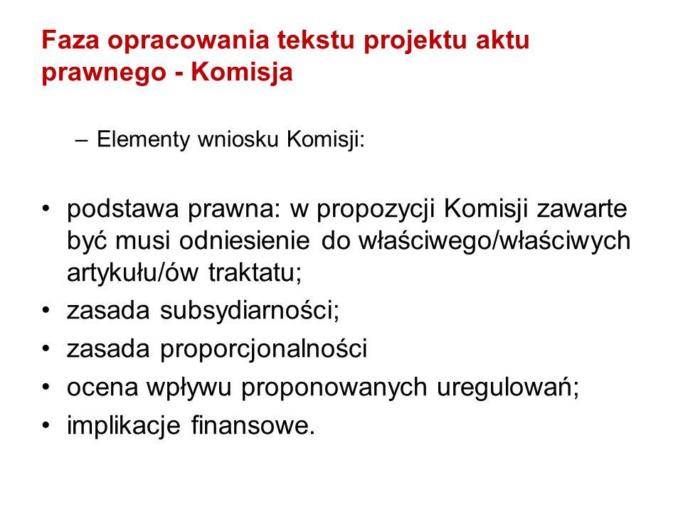 Faza opracowania tekstu projektu aktu prawnego - Komisja –Elementy wniosku Komisji: podstawa prawna: w propozycji Komisji zawarte być musi odniesienie