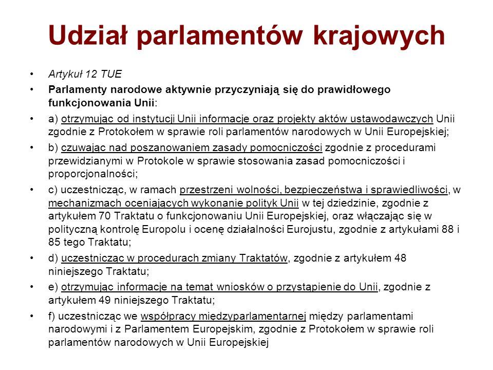 Udział parlamentów krajowych Artykuł 12 TUE Parlamenty narodowe aktywnie przyczyniają się do prawidłowego funkcjonowania Unii: a) otrzymując od instyt