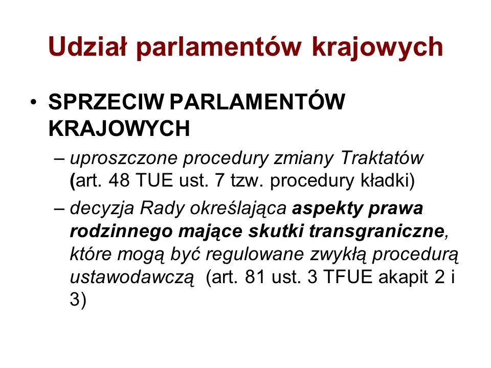 Udział parlamentów krajowych SPRZECIW PARLAMENTÓW KRAJOWYCH –uproszczone procedury zmiany Traktatów (art. 48 TUE ust. 7 tzw. procedury kładki) –decyzj