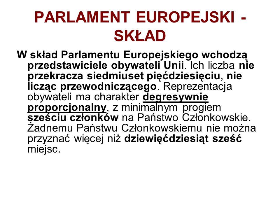 PARLAMENT EUROPEJSKI - SKŁAD W skład Parlamentu Europejskiego wchodzą przedstawiciele obywateli Unii. Ich liczba nie przekracza siedmiuset pięćdziesię