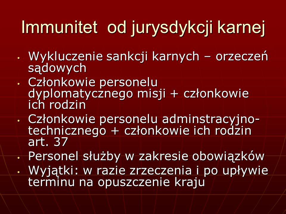 Immunitet od jurysdykcji karnej Wykluczenie sankcji karnych – orzeczeń sądowych Wykluczenie sankcji karnych – orzeczeń sądowych Członkowie personelu d