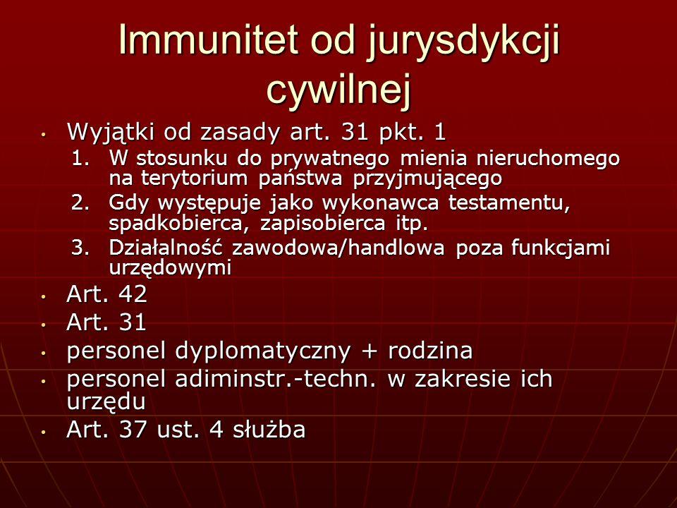 Immunitet od jurysdykcji cywilnej Wyjątki od zasady art. 31 pkt. 1 Wyjątki od zasady art. 31 pkt. 1 1.W stosunku do prywatnego mienia nieruchomego na
