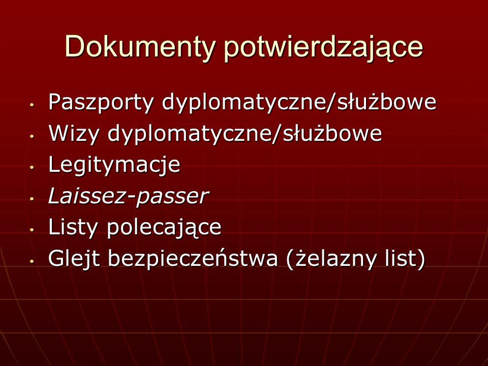 Dokumenty potwierdzające Paszporty dyplomatyczne/służbowe Paszporty dyplomatyczne/służbowe Wizy dyplomatyczne/służbowe Wizy dyplomatyczne/służbowe Leg