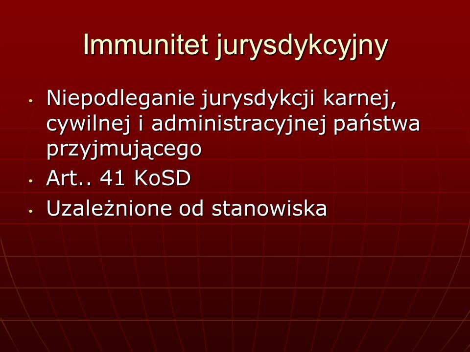 Immunitet od jurysdykcji karnej Wykluczenie sankcji karnych – orzeczeń sądowych Wykluczenie sankcji karnych – orzeczeń sądowych Członkowie personelu dyplomatycznego misji + członkowie ich rodzin Członkowie personelu dyplomatycznego misji + członkowie ich rodzin Członkowie personelu adminstracyjno- technicznego + członkowie ich rodzin art.