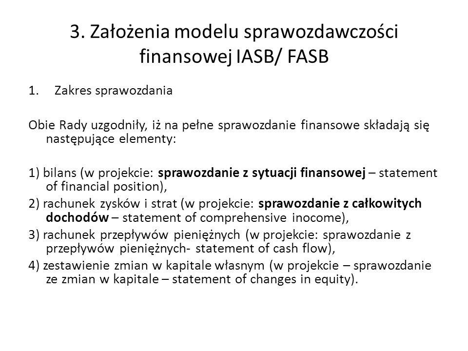 3. Założenia modelu sprawozdawczości finansowej IASB/ FASB 1.Zakres sprawozdania Obie Rady uzgodniły, iż na pełne sprawozdanie finansowe składają się
