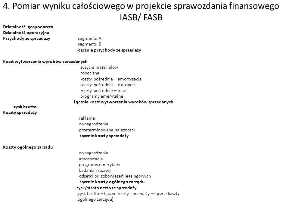 4. Pomiar wyniku całościowego w projekcie sprawozdania finansowego IASB/ FASB Działalność gospodarcza Działalność operacyjna Przychody ze sprzedaży se