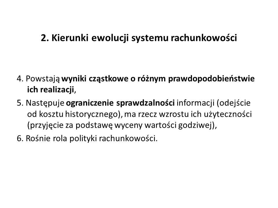 2. Kierunki ewolucji systemu rachunkowości 4. Powstają wyniki cząstkowe o różnym prawdopodobieństwie ich realizacji, 5. Następuje ograniczenie sprawdz