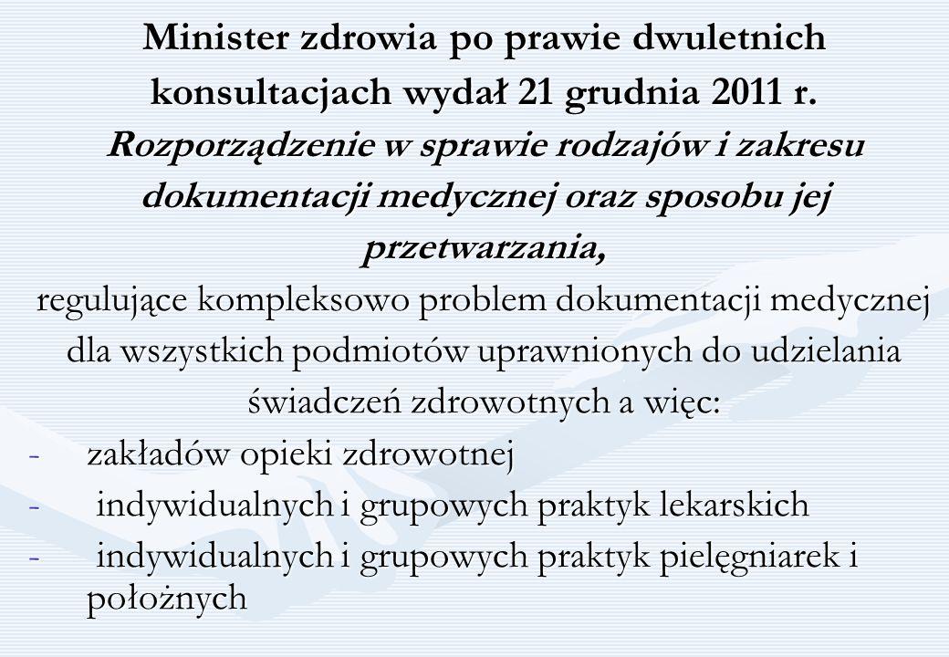 Minister zdrowia po prawie dwuletnich konsultacjach wydał 21 grudnia 2011 r. Rozporządzenie w sprawie rodzajów i zakresu dokumentacji medycznej oraz s