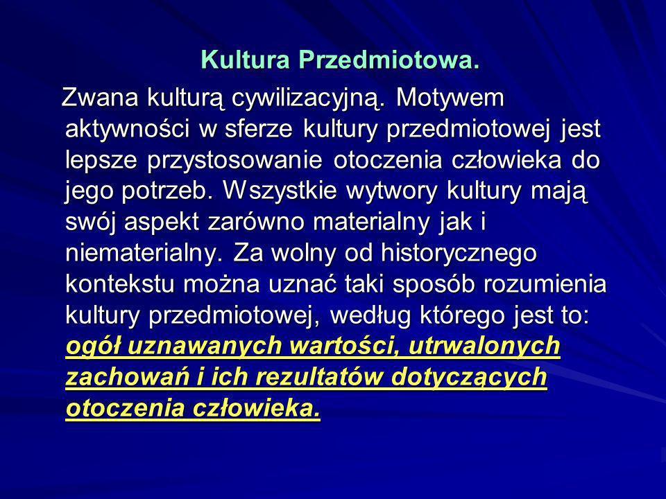 Kultura Przedmiotowa. Kultura Przedmiotowa. Zwana kulturą cywilizacyjną. Motywem aktywności w sferze kultury przedmiotowej jest lepsze przystosowanie