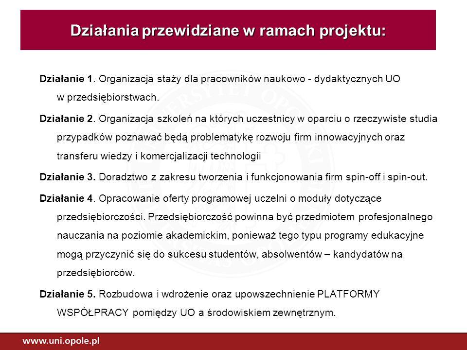 Działanie 1. Organizacja staży dla pracowników naukowo - dydaktycznych UO w przedsiębiorstwach. Działanie 2. Organizacja szkoleń na których uczestnicy