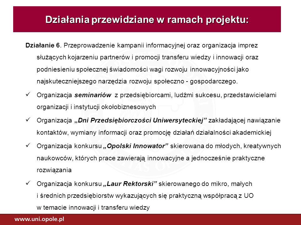 Działanie 6. Przeprowadzenie kampanii informacyjnej oraz organizacja imprez służących kojarzeniu partnerów i promocji transferu wiedzy i innowacji ora