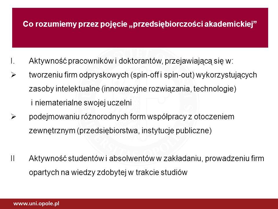 Oczekiwania zbudowanie oferty edukacyjnej w aspekcie innowacji i przedsiębiorczości dla studentów, absolwentów oraz pracowników nauki utworzenie Forum Uczelnianego nt.