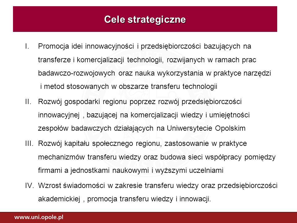 I.Promocja idei innowacyjności i przedsiębiorczości bazujących na transferze i komercjalizacji technologii, rozwijanych w ramach prac badawczo-rozwojo