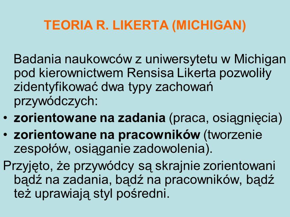 TEORIA R. LIKERTA (MICHIGAN) Badania naukowców z uniwersytetu w Michigan pod kierownictwem Rensisa Likerta pozwoliły zidentyfikować dwa typy zachowań