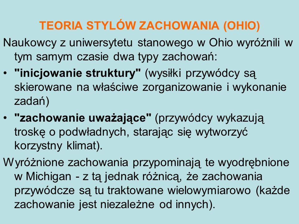 TEORIA STYLÓW ZACHOWANIA (OHIO) Naukowcy z uniwersytetu stanowego w Ohio wyróżnili w tym samym czasie dwa typy zachowań:
