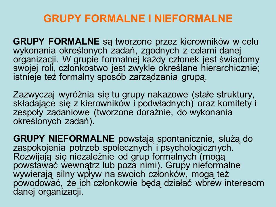 GRUPY FORMALNE I NIEFORMALNE GRUPY FORMALNE są tworzone przez kierowników w celu wykonania określonych zadań, zgodnych z celami danej organizacji. W g