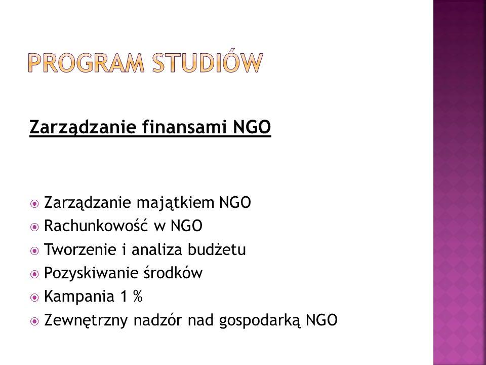 Zarządzanie finansami NGO Zarządzanie majątkiem NGO Rachunkowość w NGO Tworzenie i analiza budżetu Pozyskiwanie środków Kampania 1 % Zewnętrzny nadzór