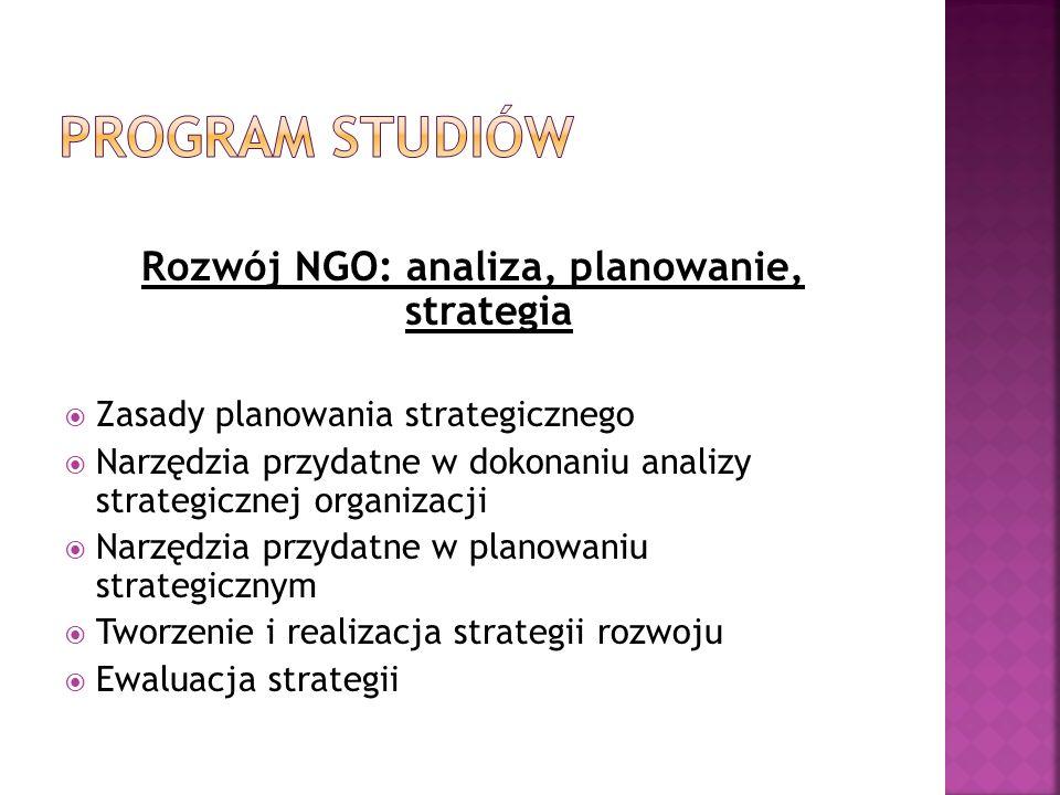 Rozwój NGO: analiza, planowanie, strategia Zasady planowania strategicznego Narzędzia przydatne w dokonaniu analizy strategicznej organizacji Narzędzi