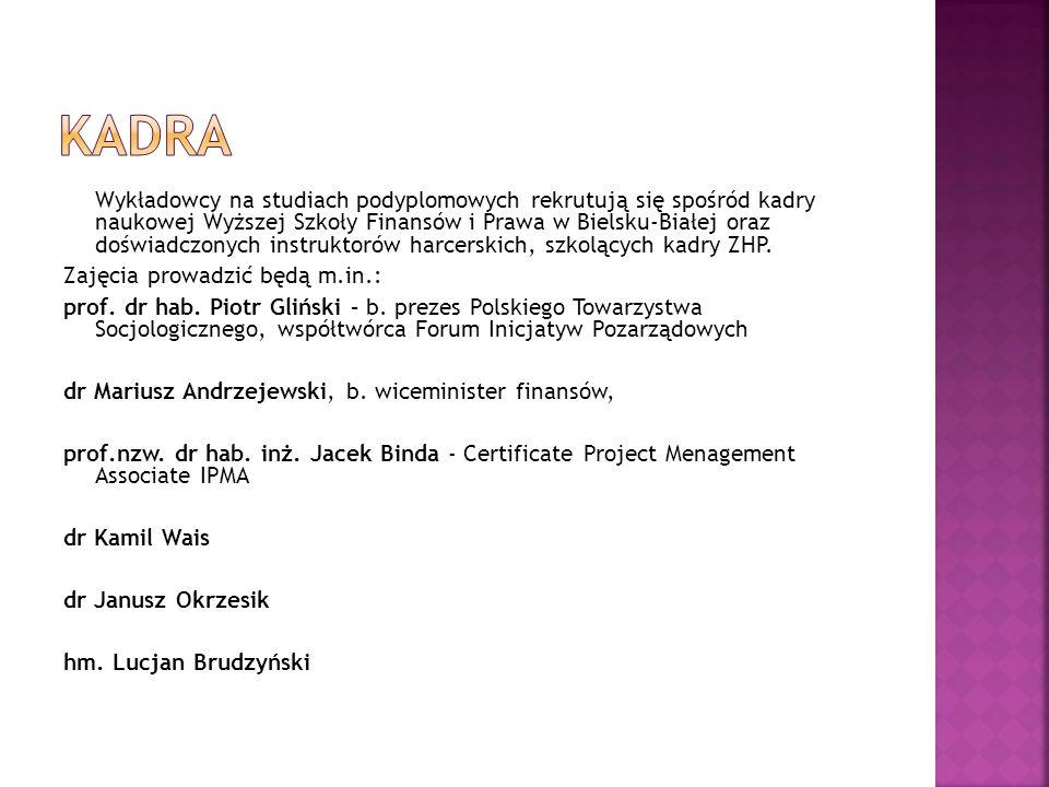 Wykładowcy na studiach podyplomowych rekrutują się spośród kadry naukowej Wyższej Szkoły Finansów i Prawa w Bielsku-Białej oraz doświadczonych instruk
