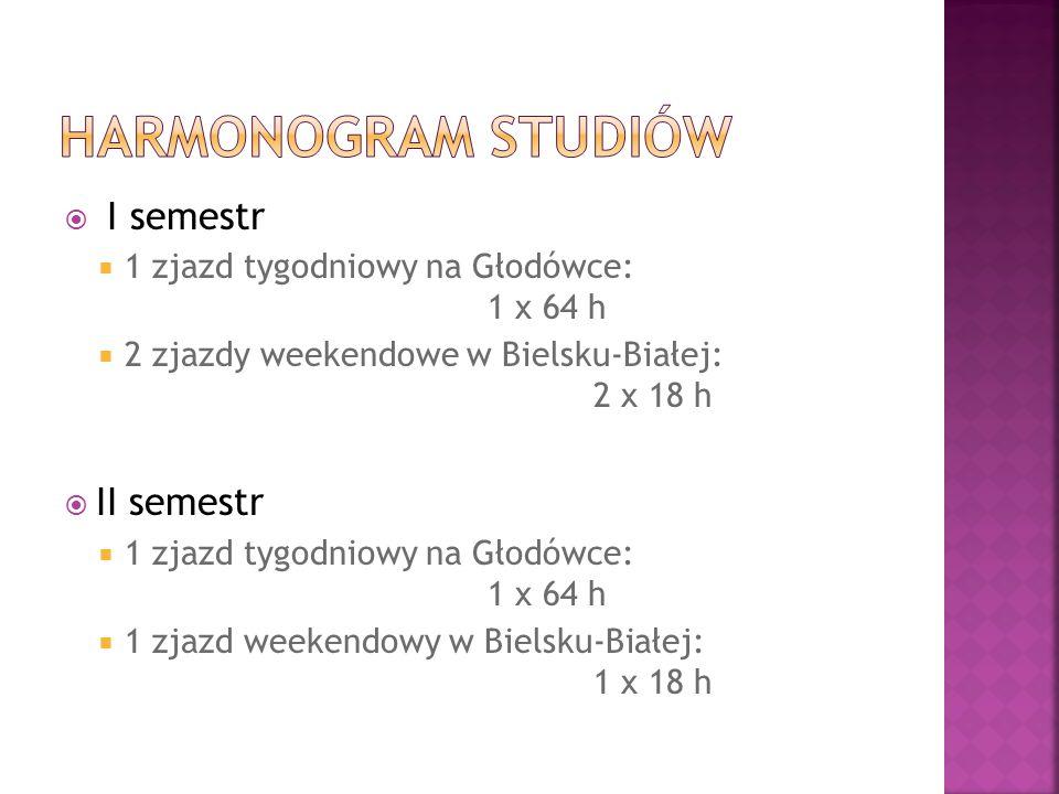 I semestr 1 zjazd tygodniowy na Głodówce: 1 x 64 h 2 zjazdy weekendowe w Bielsku-Białej: 2 x 18 h II semestr 1 zjazd tygodniowy na Głodówce: 1 x 64 h