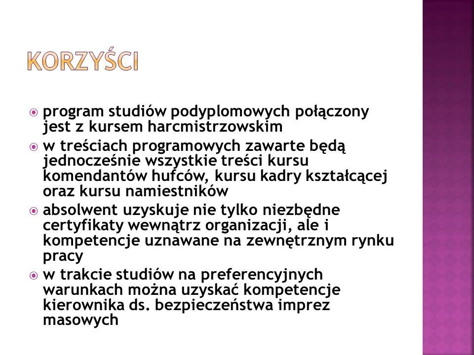 program studiów podyplomowych połączony jest z kursem harcmistrzowskim w treściach programowych zawarte będą jednocześnie wszystkie treści kursu komen