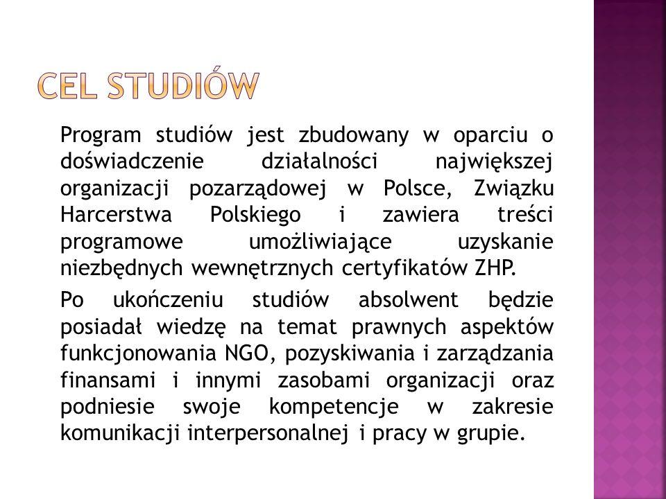 Program studiów jest zbudowany w oparciu o doświadczenie działalności największej organizacji pozarządowej w Polsce, Związku Harcerstwa Polskiego i za