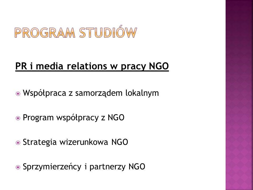 PR i media relations w pracy NGO Współpraca z samorządem lokalnym Program współpracy z NGO Strategia wizerunkowa NGO Sprzymierzeńcy i partnerzy NGO