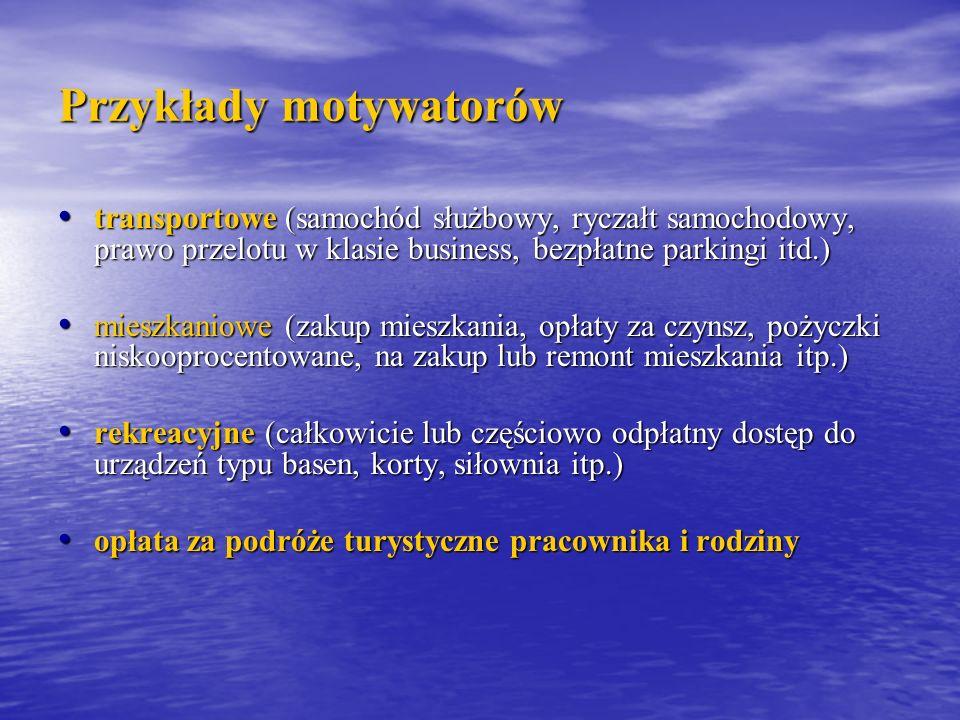 Przykłady motywatorów transportowe (samochód służbowy, ryczałt samochodowy, prawo przelotu w klasie business, bezpłatne parkingi itd.) transportowe (s