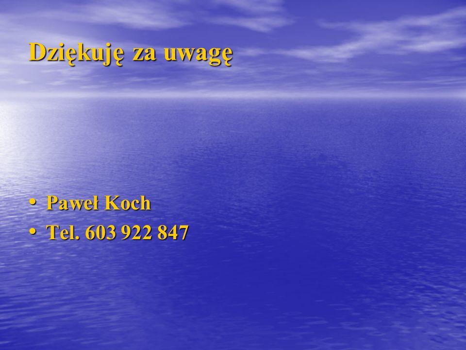 Dziękuję za uwagę Paweł Koch Paweł Koch Tel. 603 922 847 Tel. 603 922 847