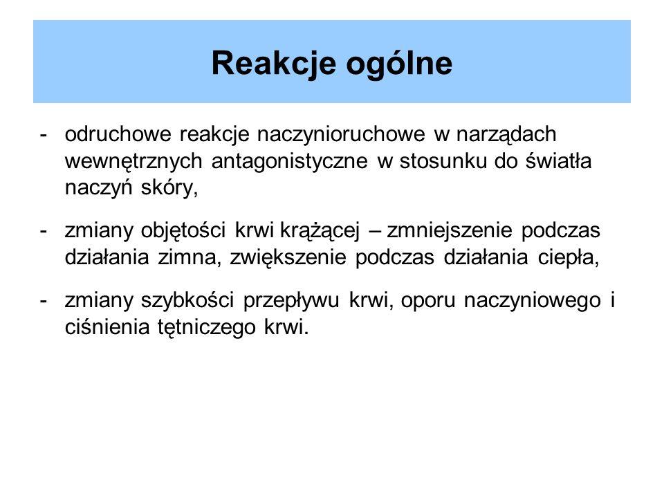 Reakcje ogólne -odruchowe reakcje naczynioruchowe w narządach wewnętrznych antagonistyczne w stosunku do światła naczyń skóry, -zmiany objętości krwi