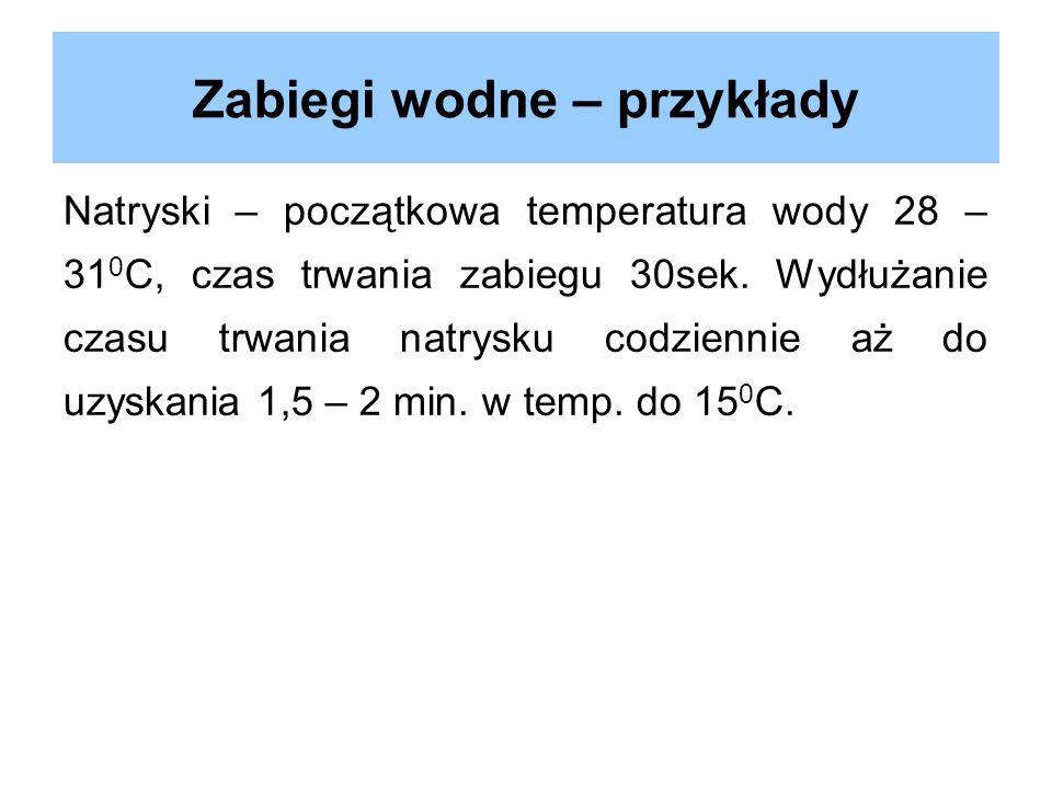 Zabiegi wodne – przykłady Natryski – początkowa temperatura wody 28 – 31 0 C, czas trwania zabiegu 30sek. Wydłużanie czasu trwania natrysku codziennie