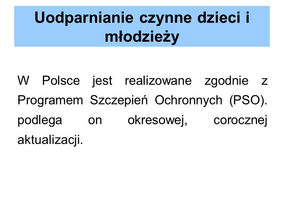 Uodparnianie czynne dzieci i młodzieży W Polsce jest realizowane zgodnie z Programem Szczepień Ochronnych (PSO). podlega on okresowej, corocznej aktua
