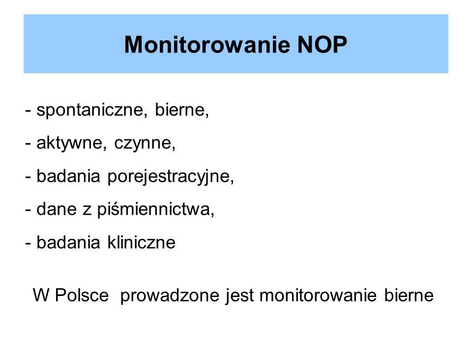 Monitorowanie NOP - spontaniczne, bierne, - aktywne, czynne, - badania porejestracyjne, - dane z piśmiennictwa, - badania kliniczne W Polsce prowadzon