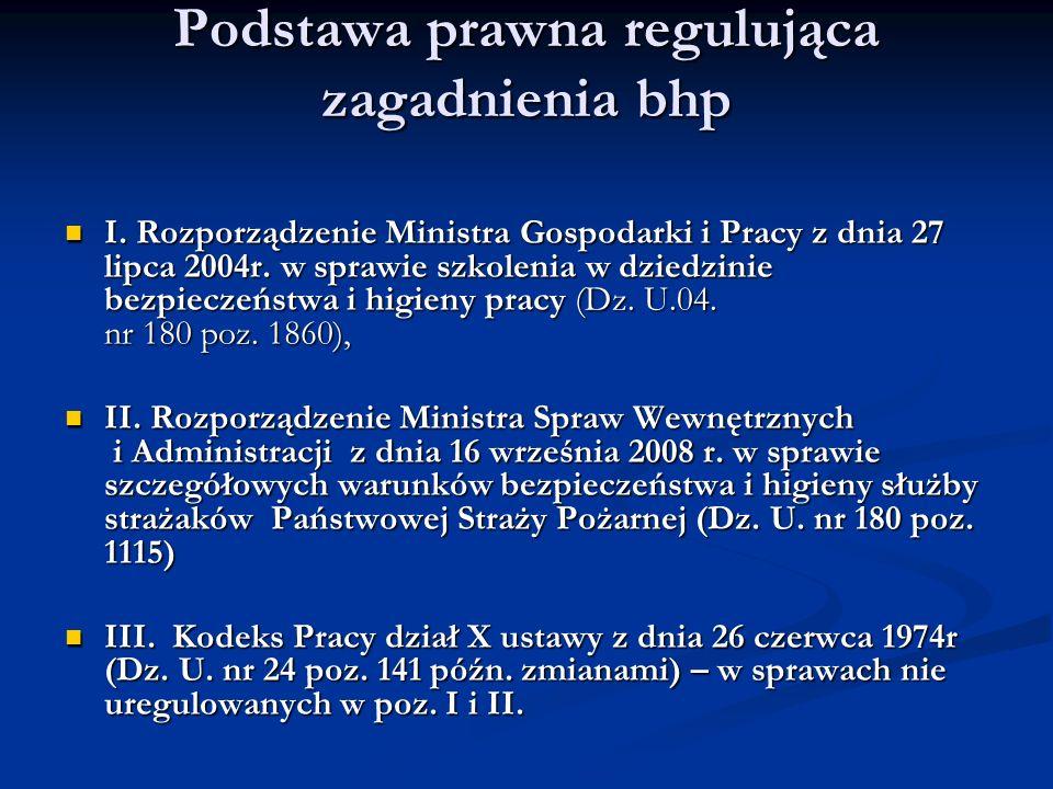 Podstawa prawna regulująca zagadnienia bhp I. Rozporządzenie Ministra Gospodarki i Pracy z dnia 27 lipca 2004r. w sprawie szkolenia w dziedzinie bezpi