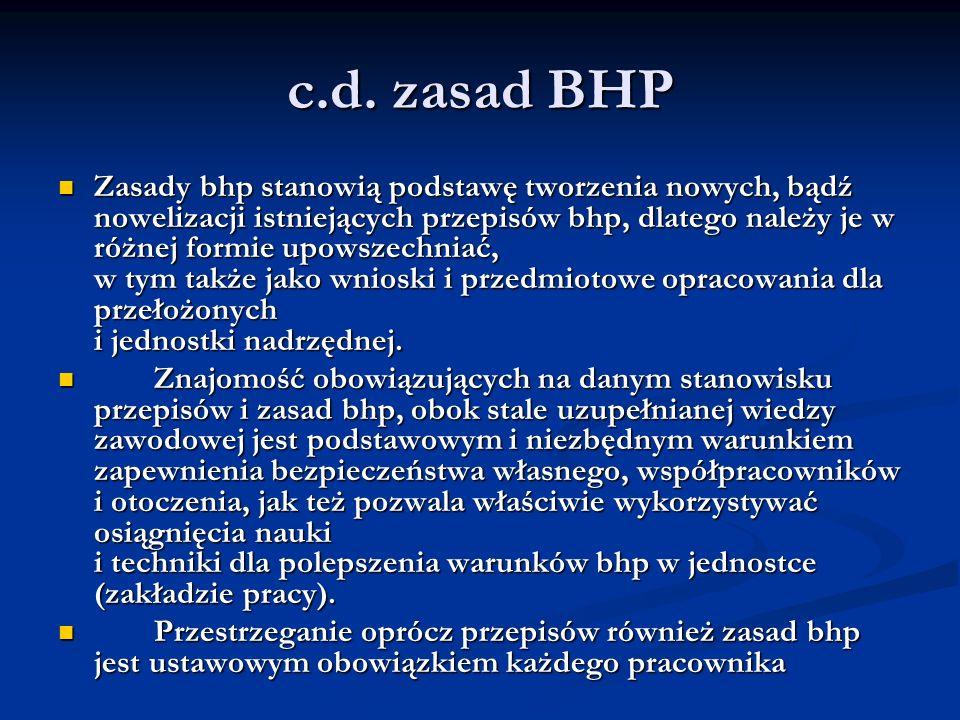 c.d. zasad BHP Zasady bhp stanowią podstawę tworzenia nowych, bądź nowelizacji istniejących przepisów bhp, dlatego należy je w różnej formie upowszech