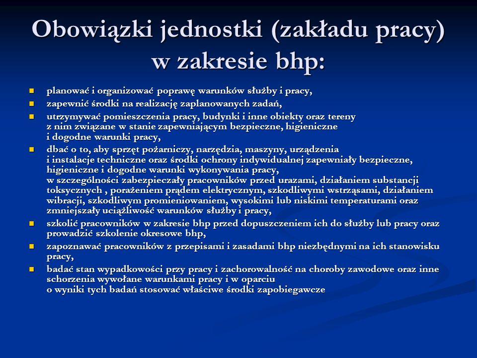 Obowiązki jednostki (zakładu pracy) w zakresie bhp: planować i organizować poprawę warunków służby i pracy, planować i organizować poprawę warunków sł