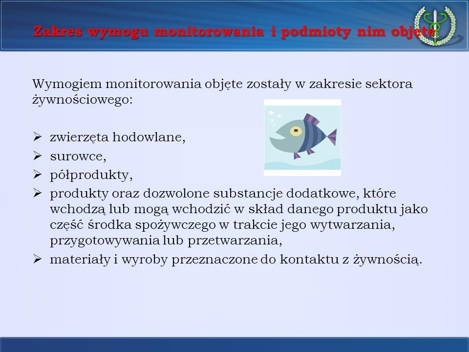 Zakres wymogu monitorowania i podmioty nim objęte Wymogiem monitorowania objęte zostały w zakresie sektora żywnościowego: zwierzęta hodowlane, surowce