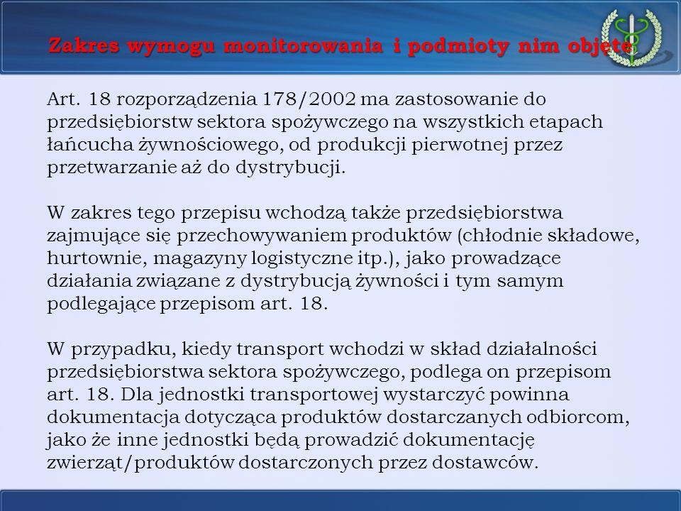 Zakres wymogu monitorowania i podmioty nim objęte Art. 18 rozporządzenia 178/2002 ma zastosowanie do przedsiębiorstw sektora spożywczego na wszystkich