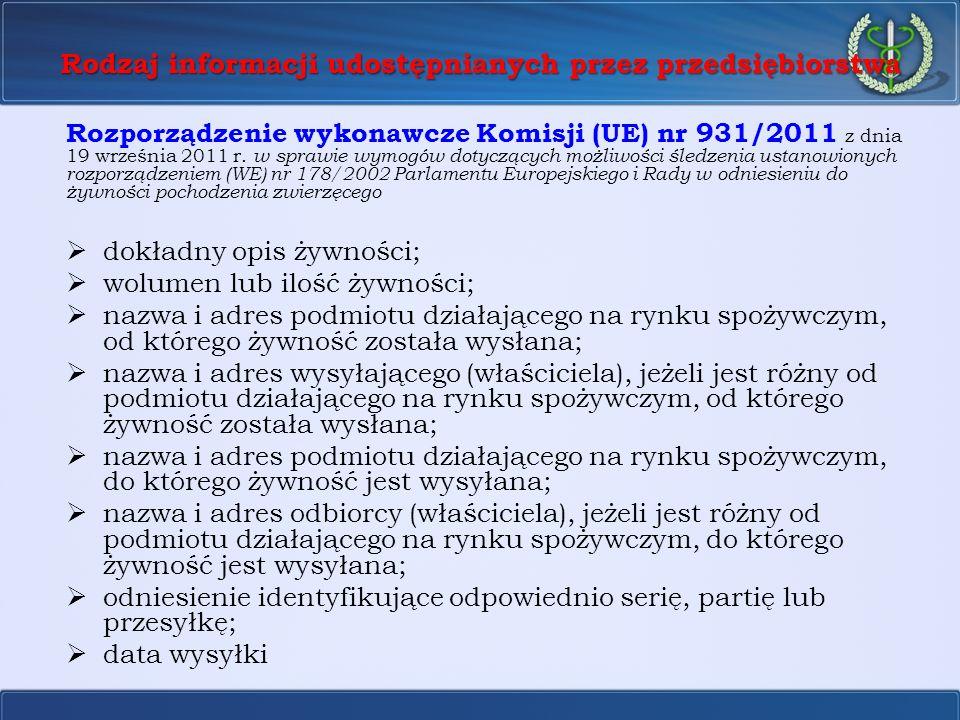 Rodzaj informacji udostępnianych przez przedsiębiorstwa Rozporządzenie wykonawcze Komisji (UE) nr 931/2011 z dnia 19 września 2011 r. w sprawie wymogó