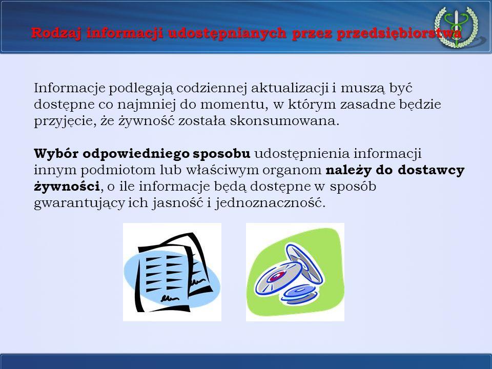Rodzaj informacji udostępnianych przez przedsiębiorstwa Informacje podlegają codziennej aktualizacji i muszą być dostępne co najmniej do momentu, w kt