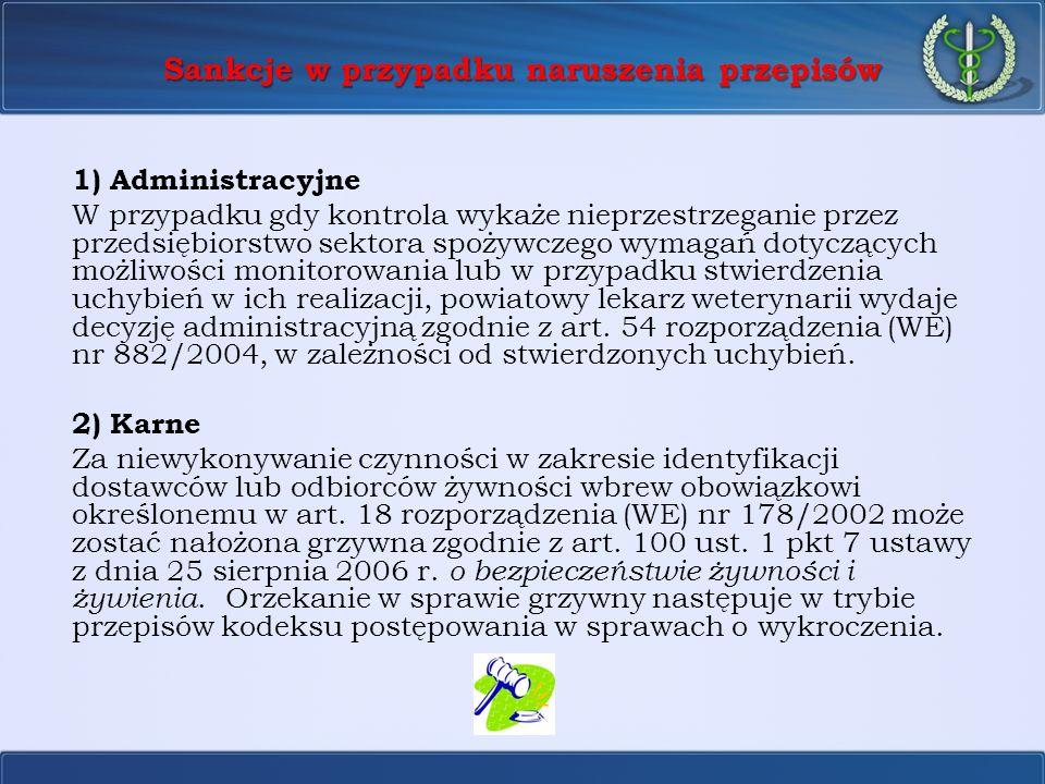 Sankcje w przypadku naruszenia przepisów 1) Administracyjne W przypadku gdy kontrola wykaże nieprzestrzeganie przez przedsiębiorstwo sektora spożywcze