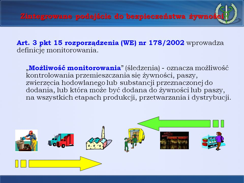 Zintegrowane podejście do bezpieczeństwa żywności Art. 3 pkt 15 rozporządzenia (WE) nr 178/2002 wprowadza definicję monitorowania. Możliwość monitorow