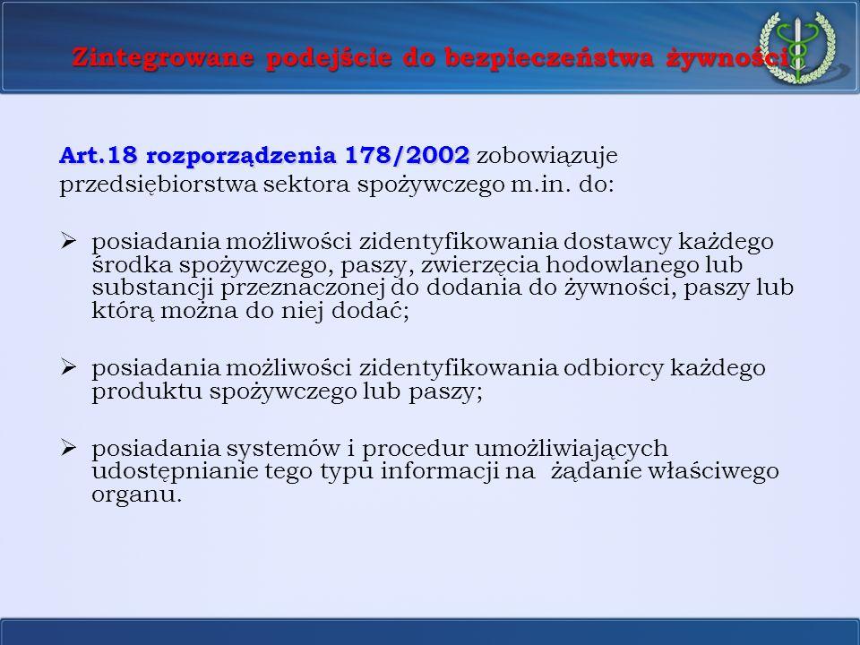 Zintegrowane podejście do bezpieczeństwa żywności Art.18 rozporządzenia 178/2002 Art.18 rozporządzenia 178/2002 zobowiązuje przedsiębiorstwa sektora s