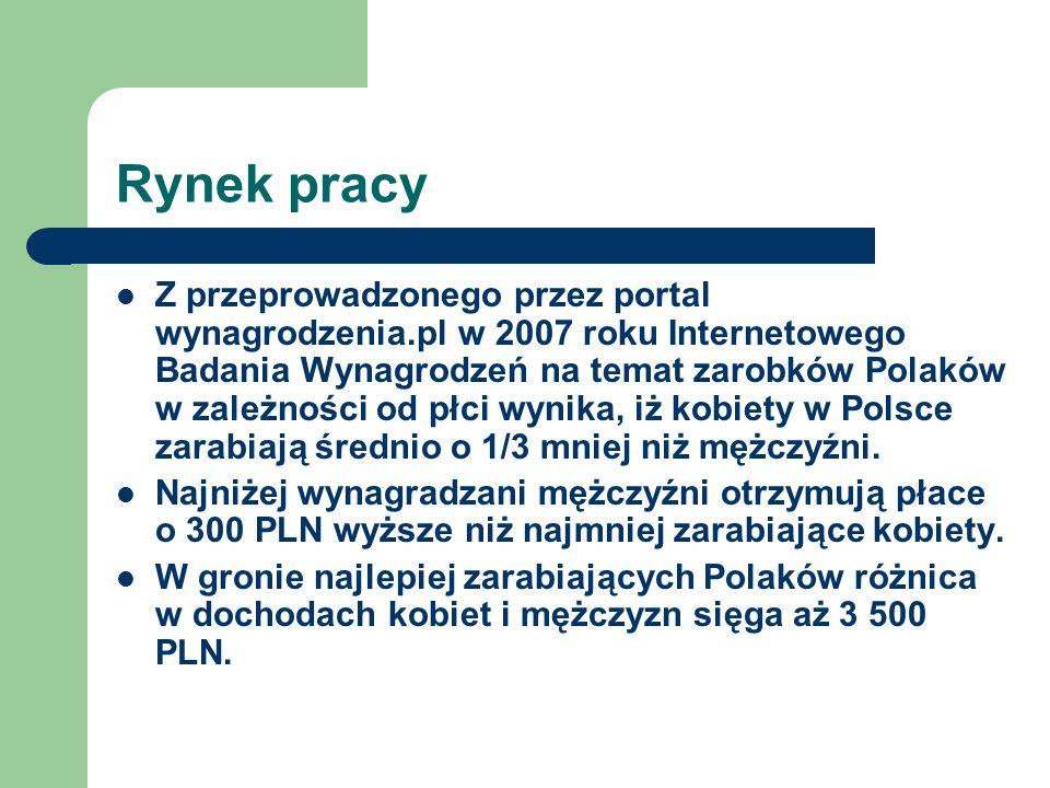 Rynek pracy Z przeprowadzonego przez portal wynagrodzenia.pl w 2007 roku Internetowego Badania Wynagrodzeń na temat zarobków Polaków w zależności od p
